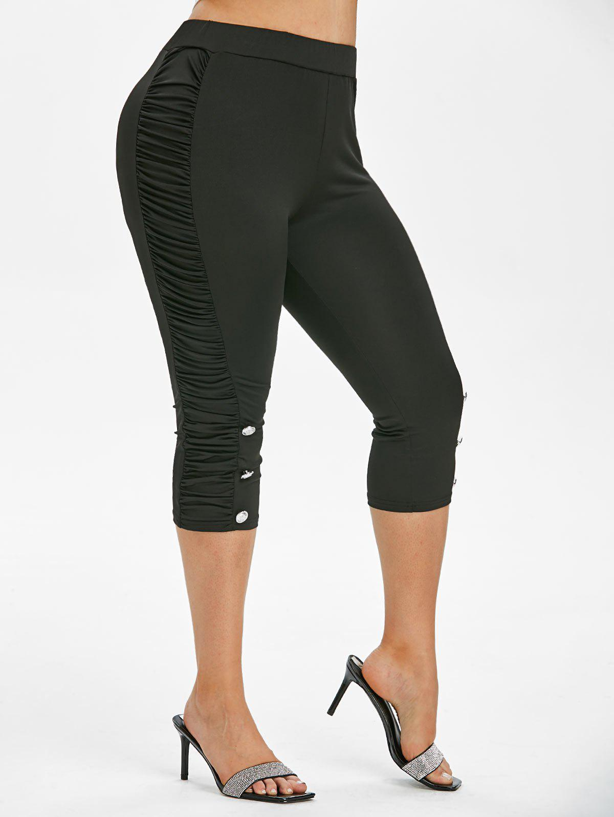Plus Size Ruched Cropped Leggings - BLACK 2X