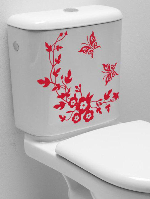 Butterfly Flower Vine Home Bathroom Decoration Stickers - RED 30X30CM