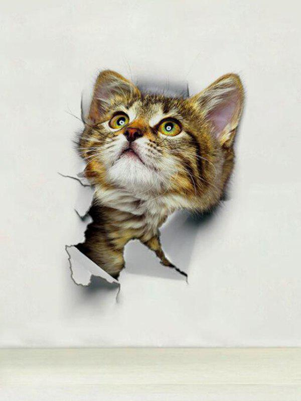 Broken Wall Cats Print Decorative Wall Art Stickers - multicolor A XH2003  25X16.5CM