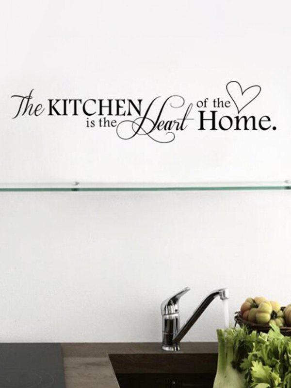 Letter Kitchen Heart Background Wall Stickers - BLACK 57X14CM