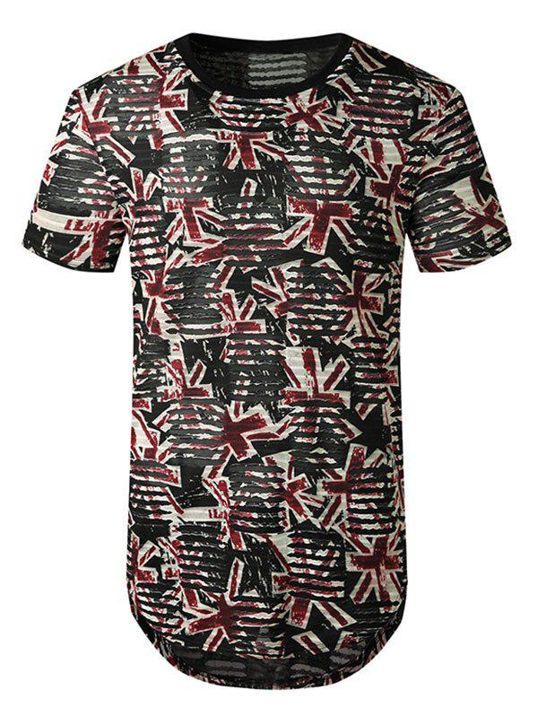 Printed Sheer Patch Hole Short Sleeve Longline T Shirt - RED M