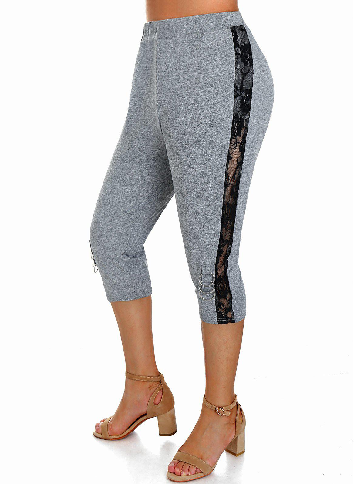 Plus Size Floral Lace Insert O Ring Fitted Leggings - ASH GRAY 5X