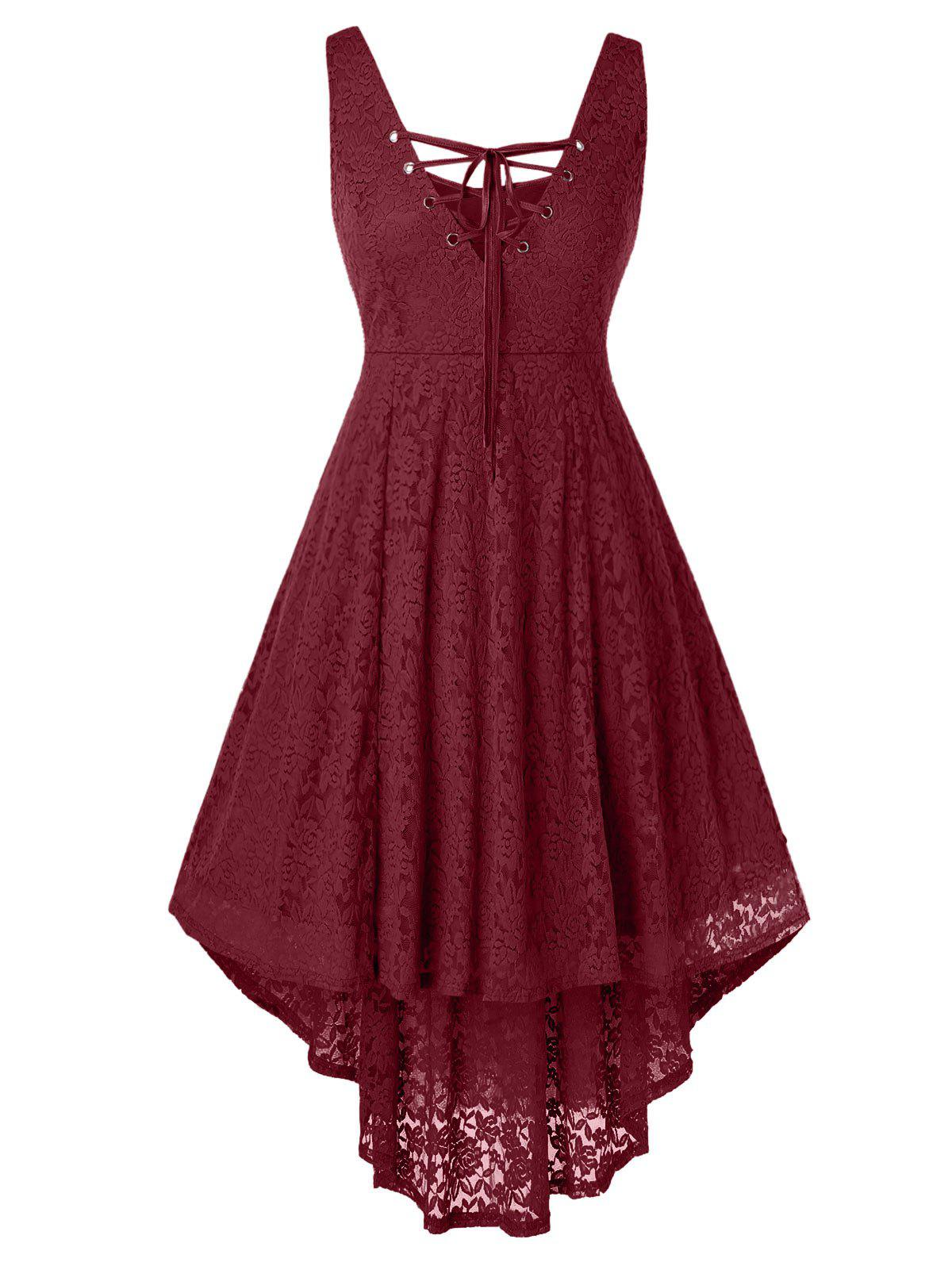 Plus Size High Low Lace Sleeveless Dress - RED WINE 2X