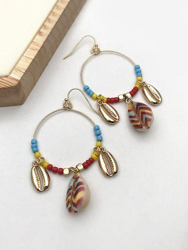 Bohemian Shell Beads Circle Dangle Earrings - GOLDEN