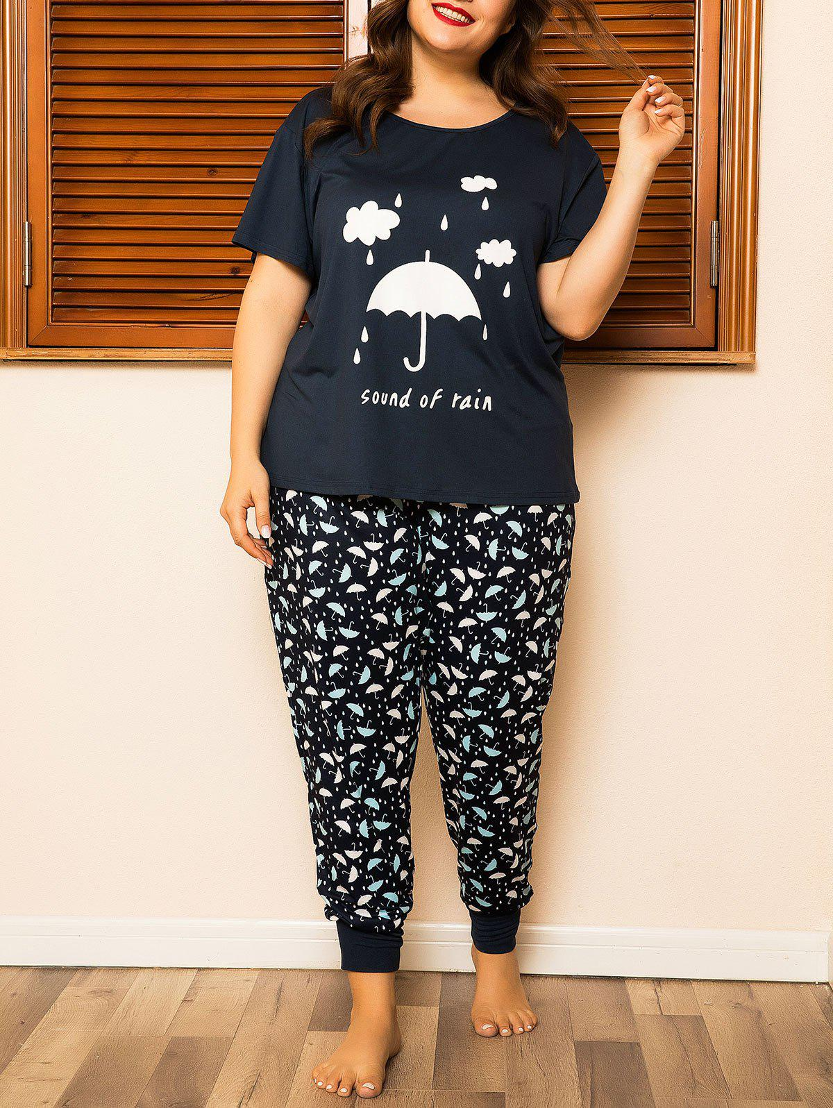Plus Size Umbrella Print Short Sleeve PJ Set - BLACK 3XL