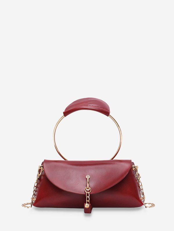 Circle Handle Flap Leather Tote Bag - DEEP RED