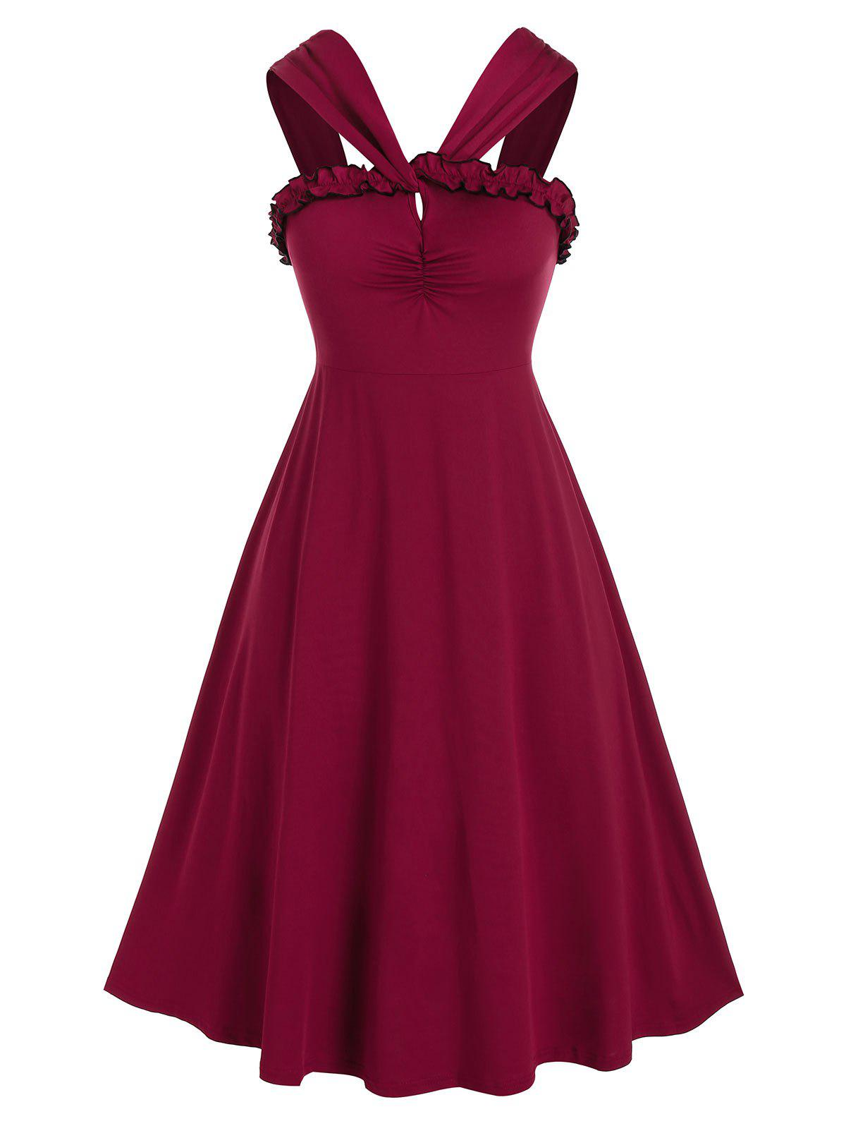 Plus Size Frilled Ruched A Line Midi Retro Dress - RED WINE 5X
