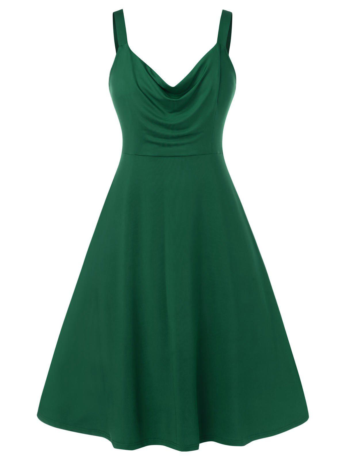 Plus Size Solid Color Ruched Sleeveless Dress - DEEP GREEN 1X