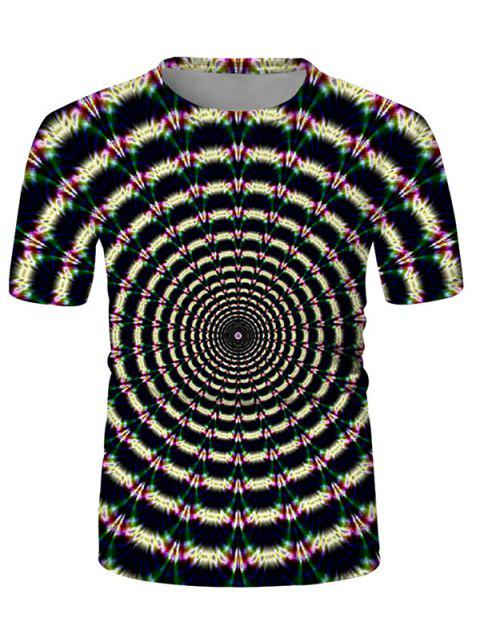Digital Spiral Graphic Crew Neck Casual T Shirt