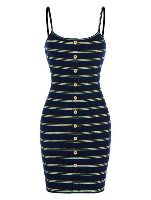 Mock Button Striped Ribbed Bodycon Dress