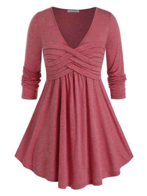Plus Size Long Sleeve Plunge Ruched Tunic Tee