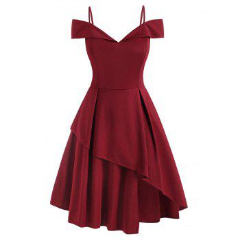 Plus Size Cold Shoulder Layered Prom Dress