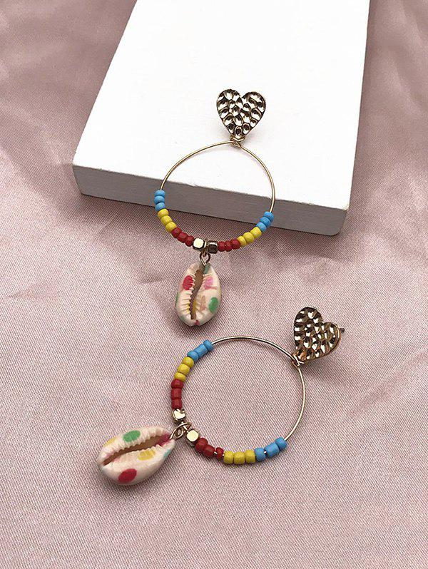 Colored Beads Shell Heart Circle Earrings - GOLDEN