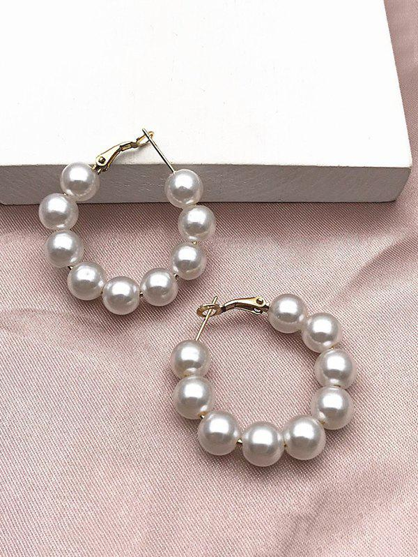 Brief Artificial Pearl Hoop Earrings - WHITE