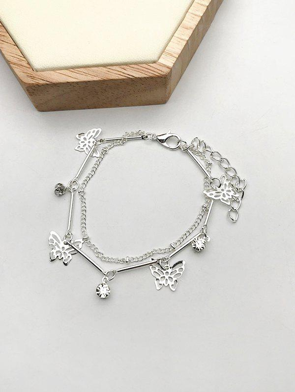 Hollow Out Butterfly Layered Charm Bracelet - SILVER