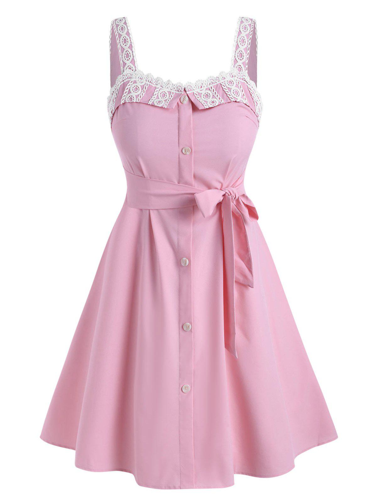 Plus Size Lace Insert Belted Dress - LIGHT PINK 4X