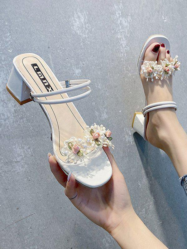 Flower Chunky Heel Open Toe Slides Sandals - BEIGE EU 39