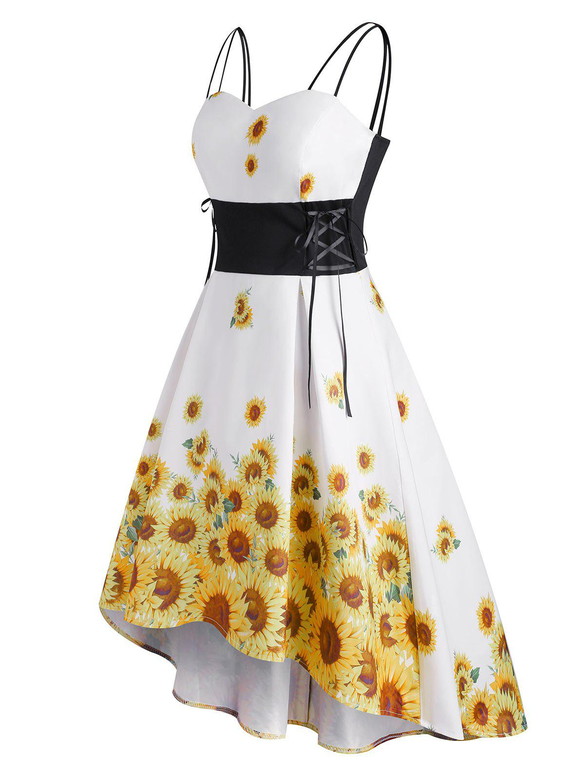 Plus Size Lace Up Sunflower Print High Low Dress - WHITE XL