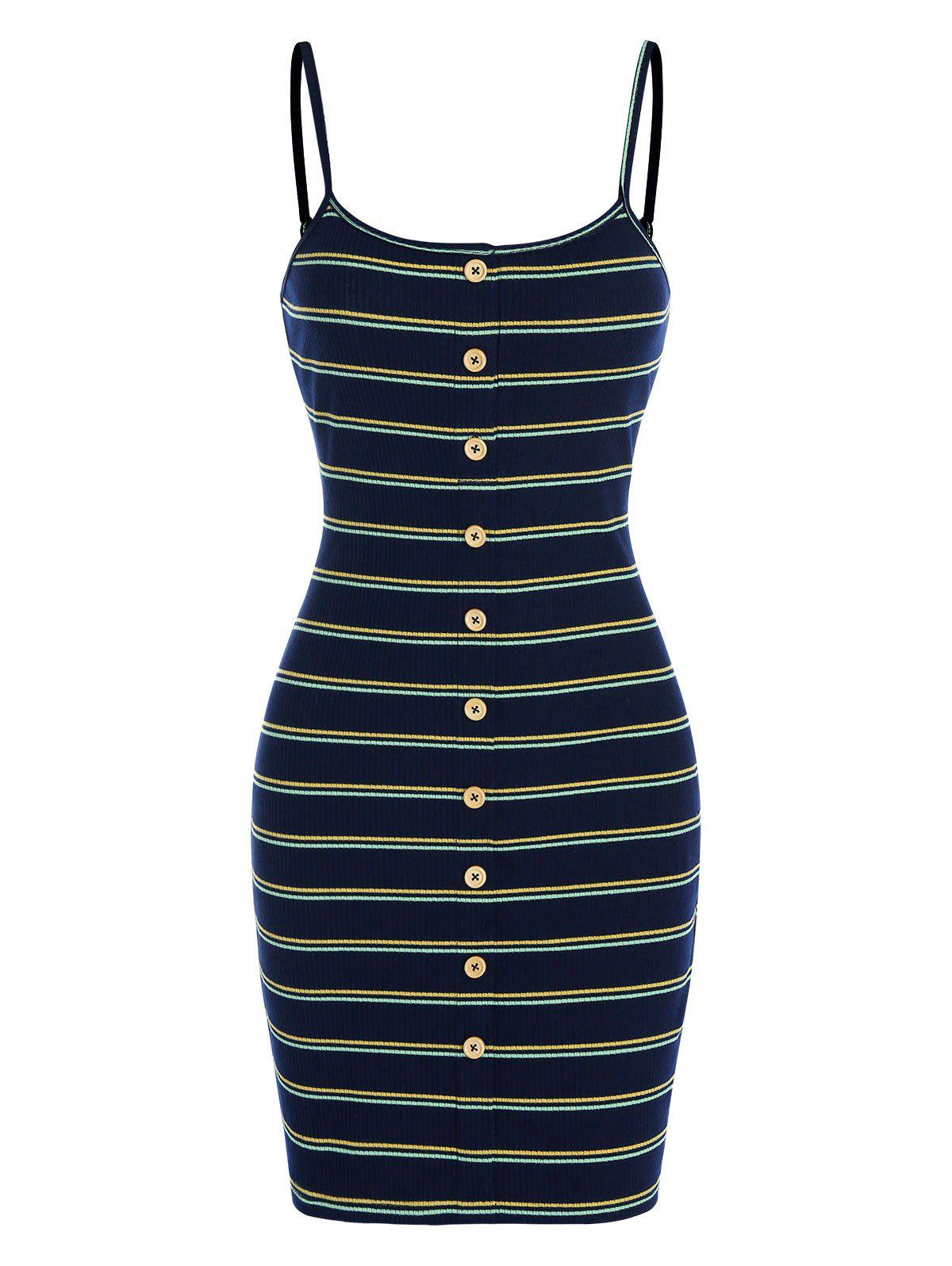Mock Button Striped Ribbed Bodycon Dress - MIDNIGHT BLUE 3XL