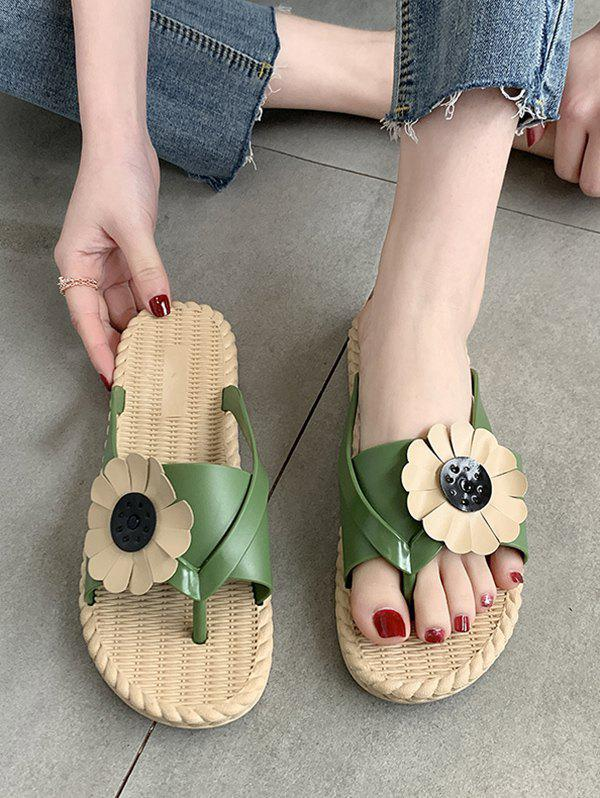 Sunflower Beach Thong Slides Sandals - GREEN EU 40