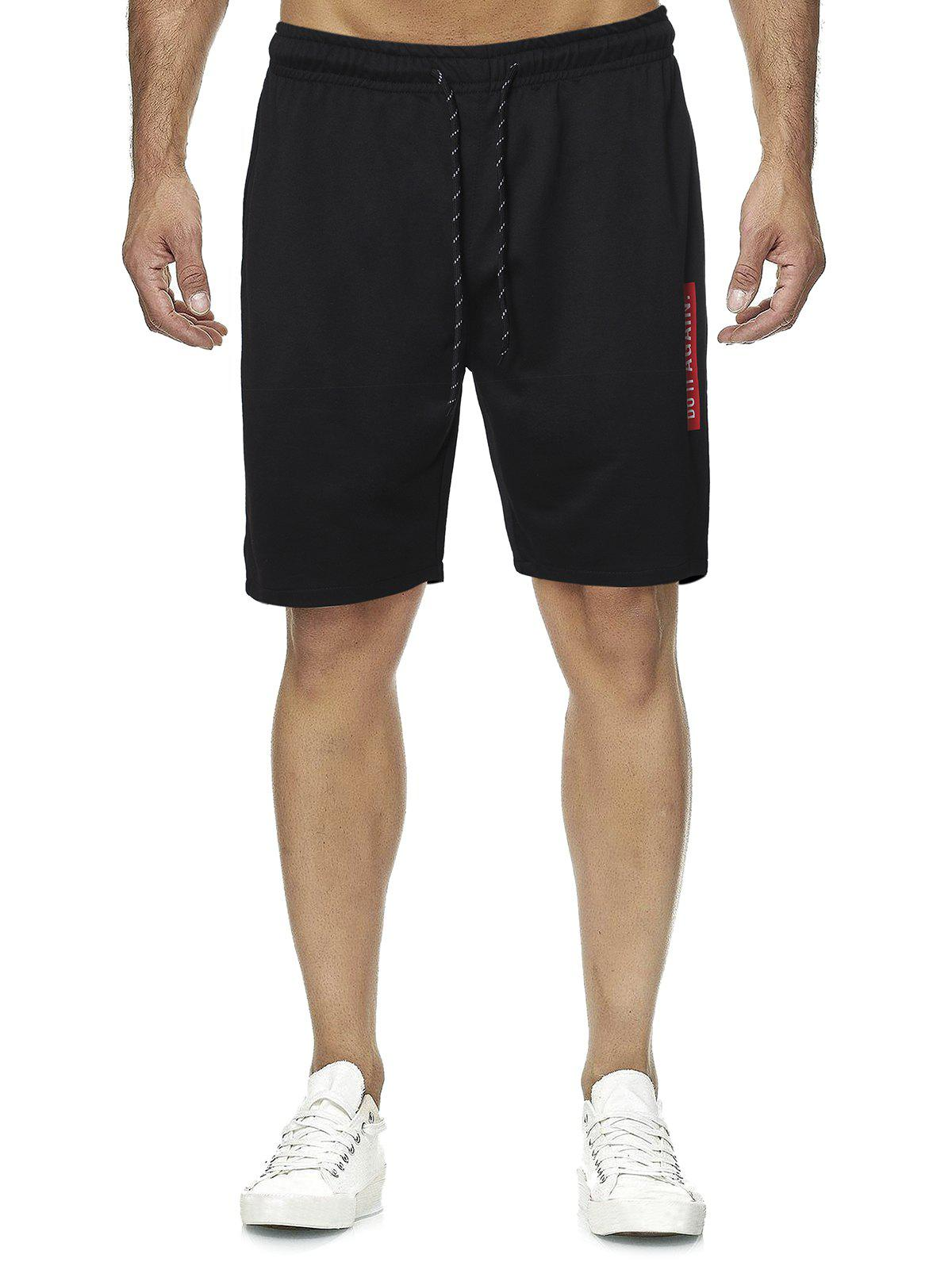 Letter Graphic Casual Straight Shorts - BLACK L