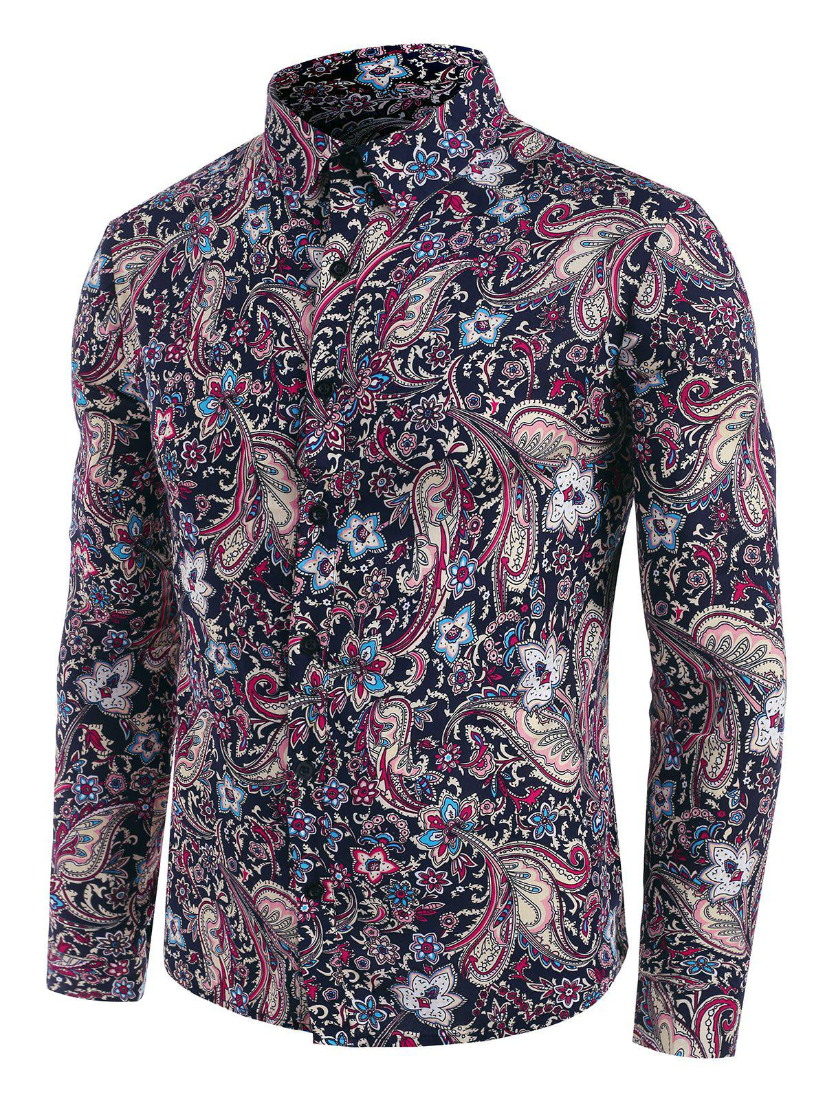 Floral Paisley Print Button Down Shirt - DEEP BLUE 2XL