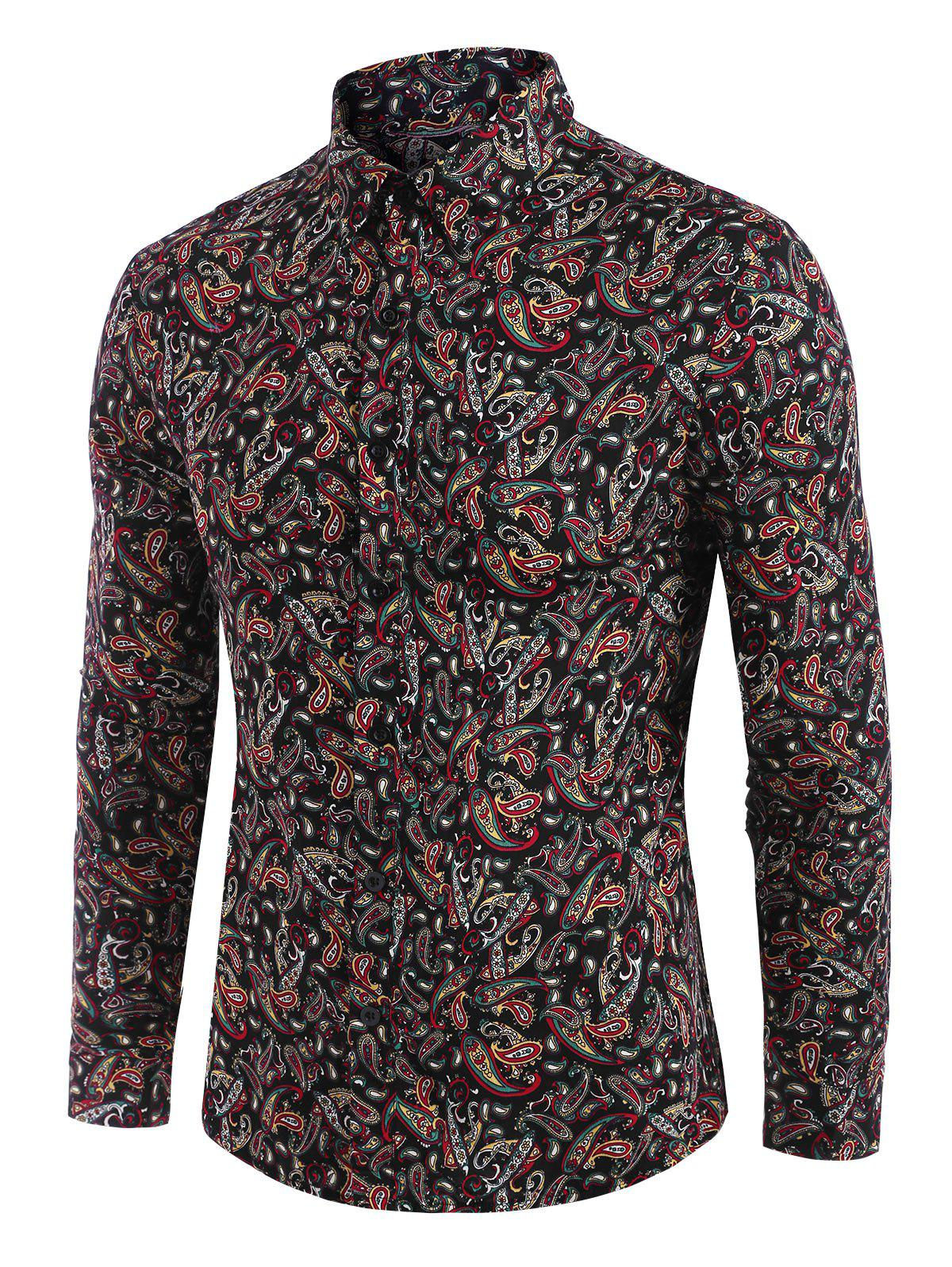 Paisley Allover Print Button Down Shirt - BLACK S