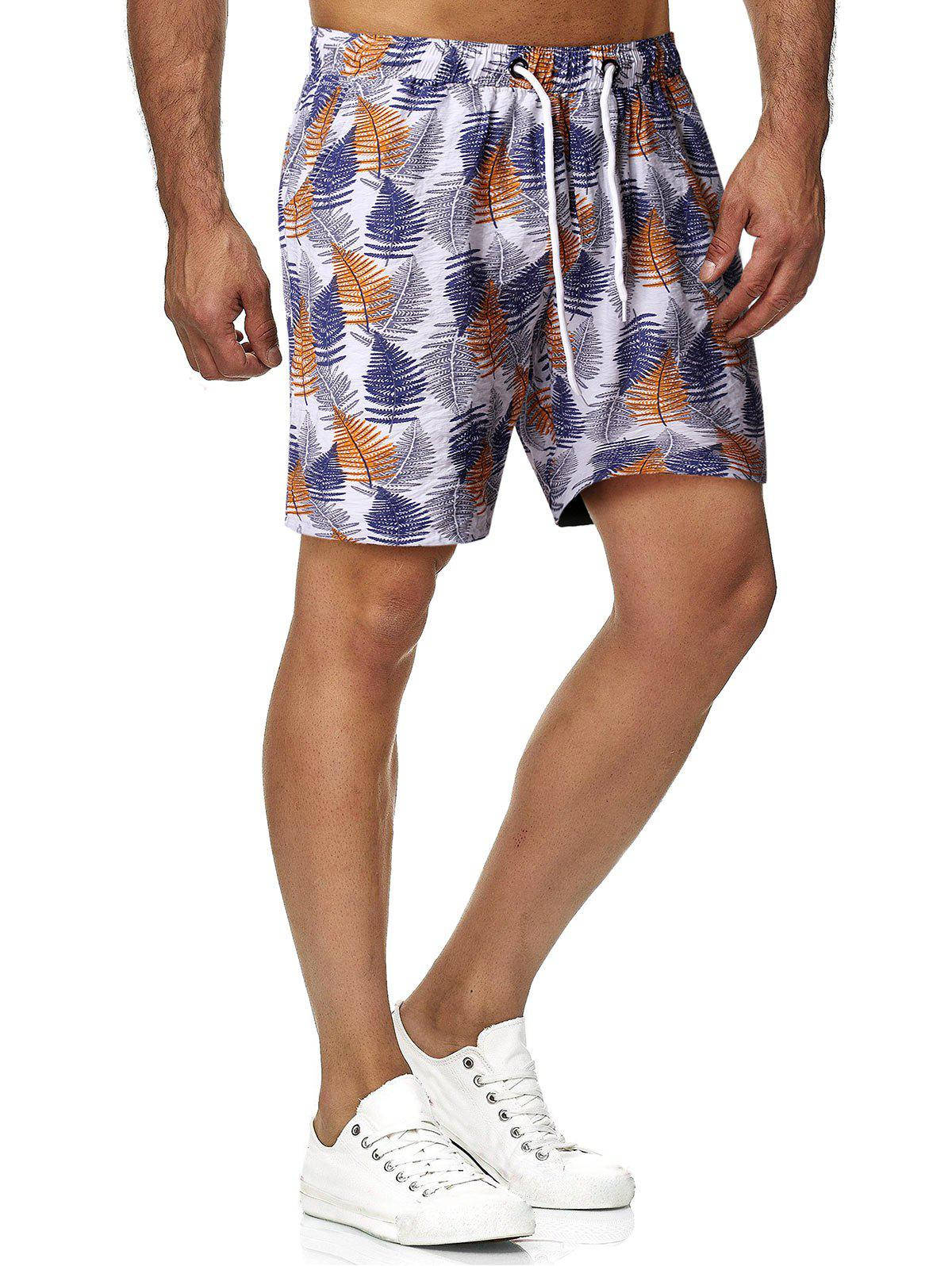Leaves Print Drawstring Beach Shorts - multicolor 2XL