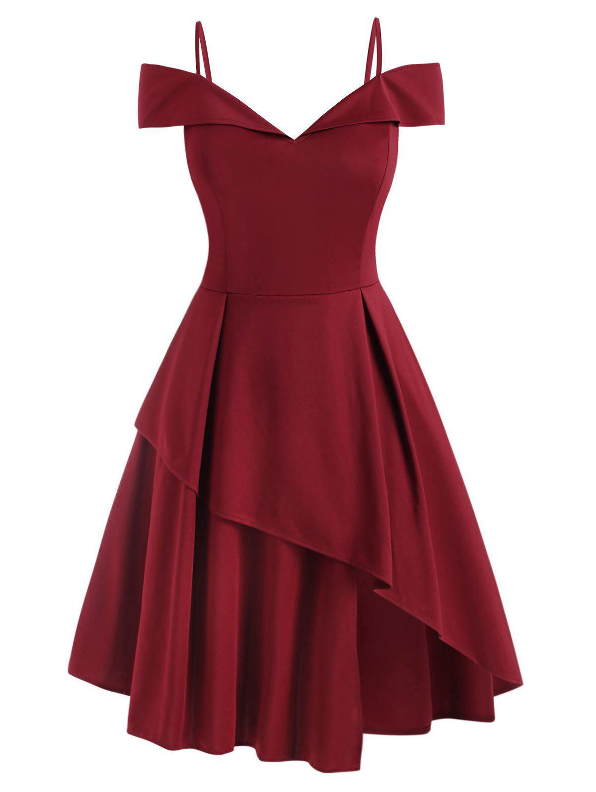 Plus Size Cold Shoulder Layered Prom Dress - DEEP RED 2XL