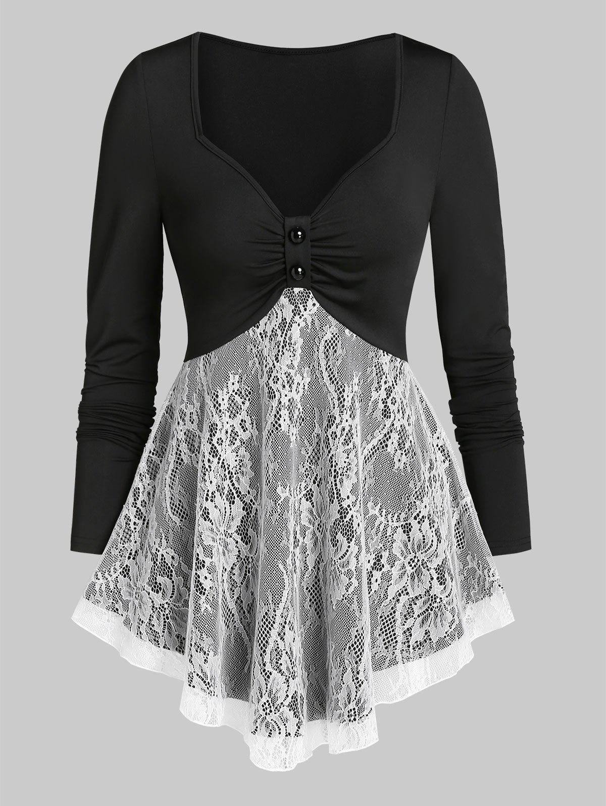 Sweetheart Neck Lace Insert Ruched Long Sleeve T Shirt - BLACK 3XL