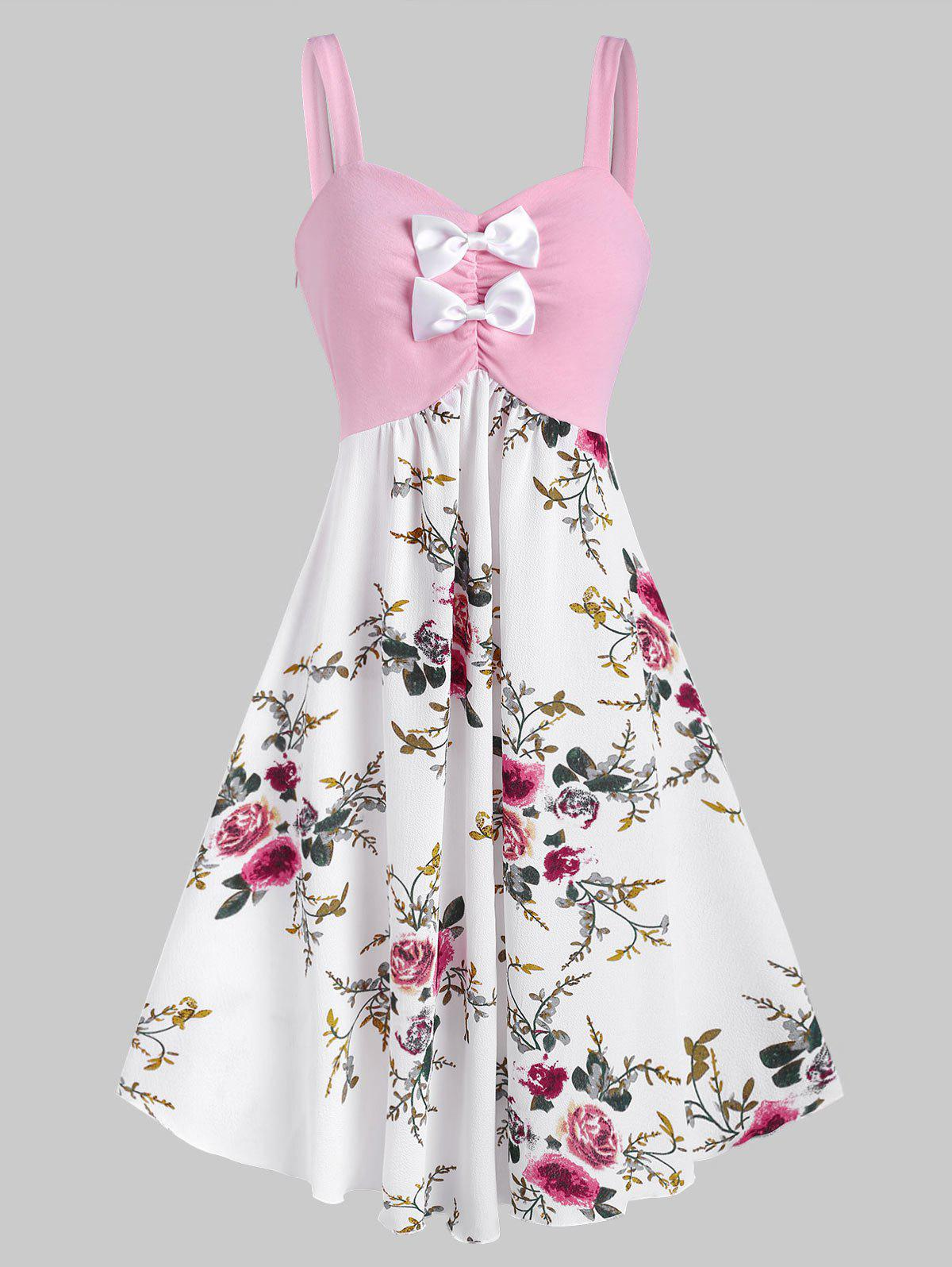 Bowknot Ruched Floral Midi Dress - LIGHT PINK XL