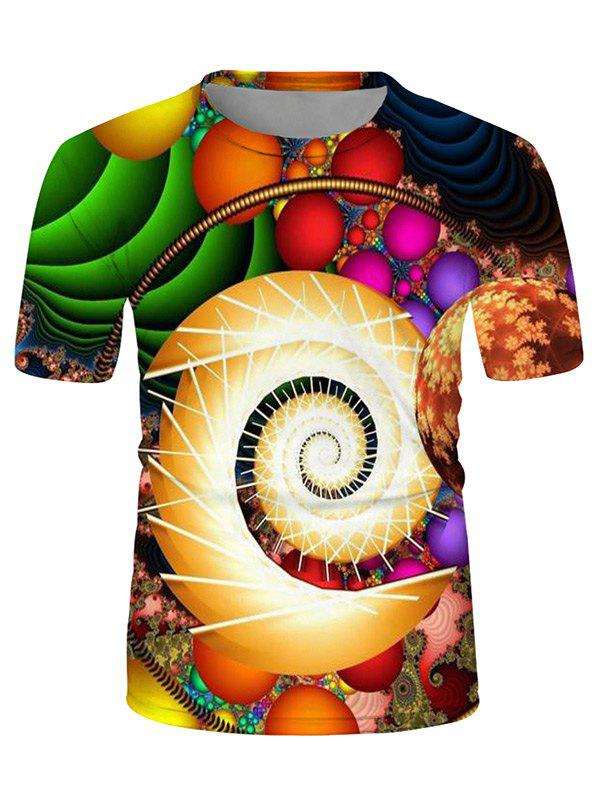 Colorful Ball Spiral Graphic Crew Neck Casual T Shirt - multicolor 3XL