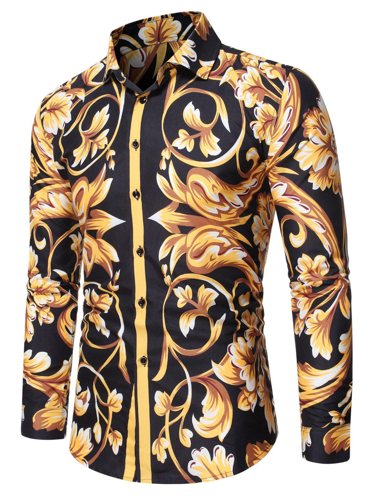 Baroque Print Button Up Long Sleeve T Shirt - multicolor S