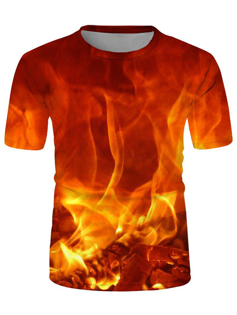 Digital Fire Print Crew Neck Short Sleeve Tee - multicolor L