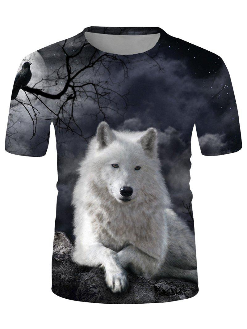 Moon Wolf Print Crew Neck Casual T Shirt - multicolor 3XL