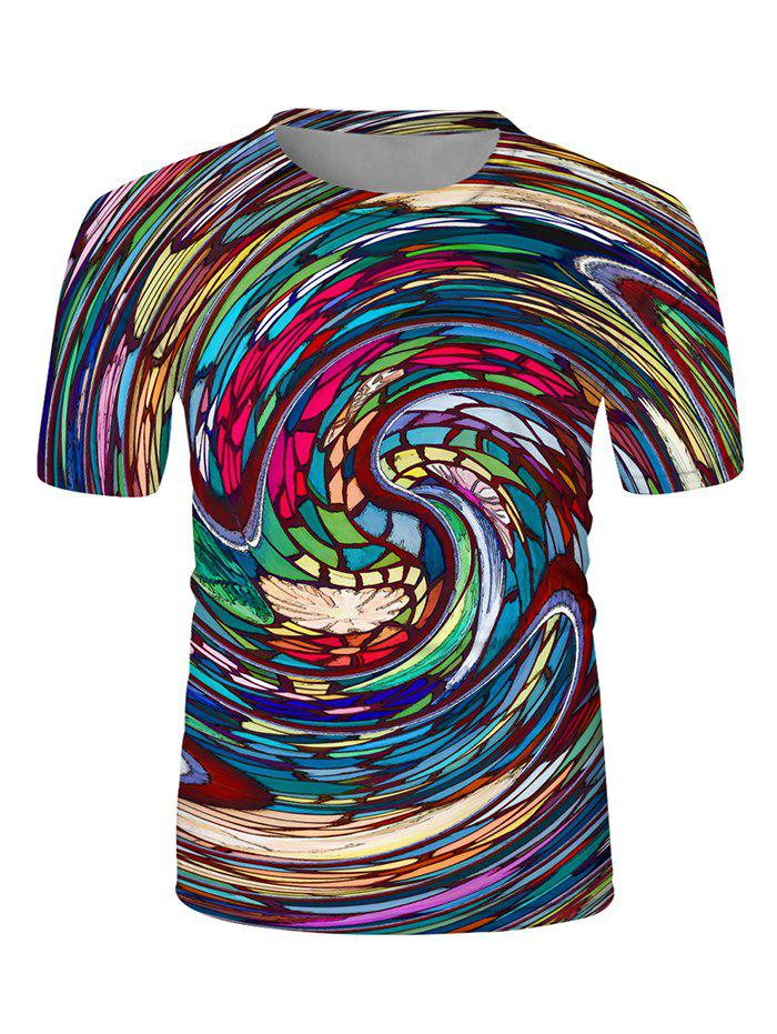 Colorful Swirl Graphic Print T-shirt - multicolor XL