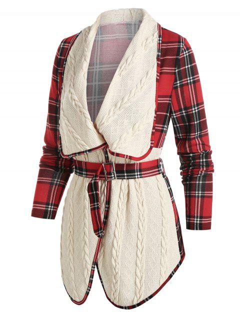 Plaid Print Cable Knit Belted Jacket