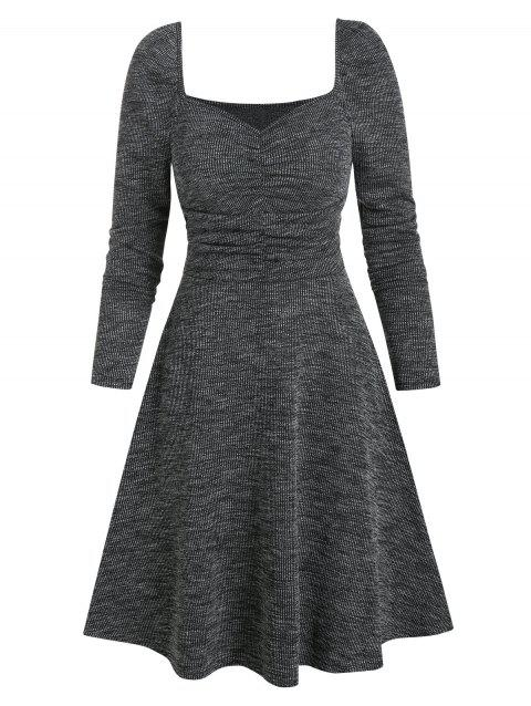 Sweetheart Neck Ruched Heather Knit Mini Dress