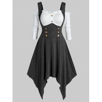 Plus Size Open Shoulder Handkerchief Sailor Button Dress
