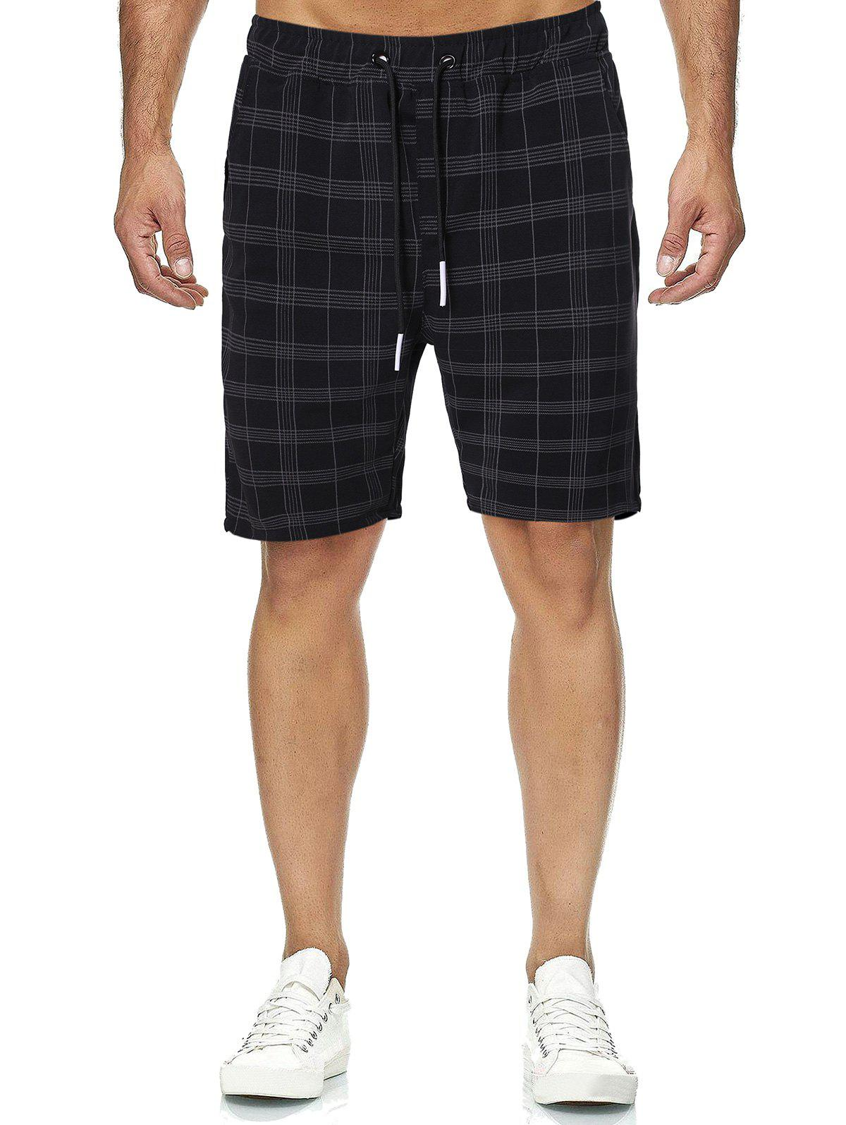 Plaid Print Drawstring Casual Shorts - multicolor L