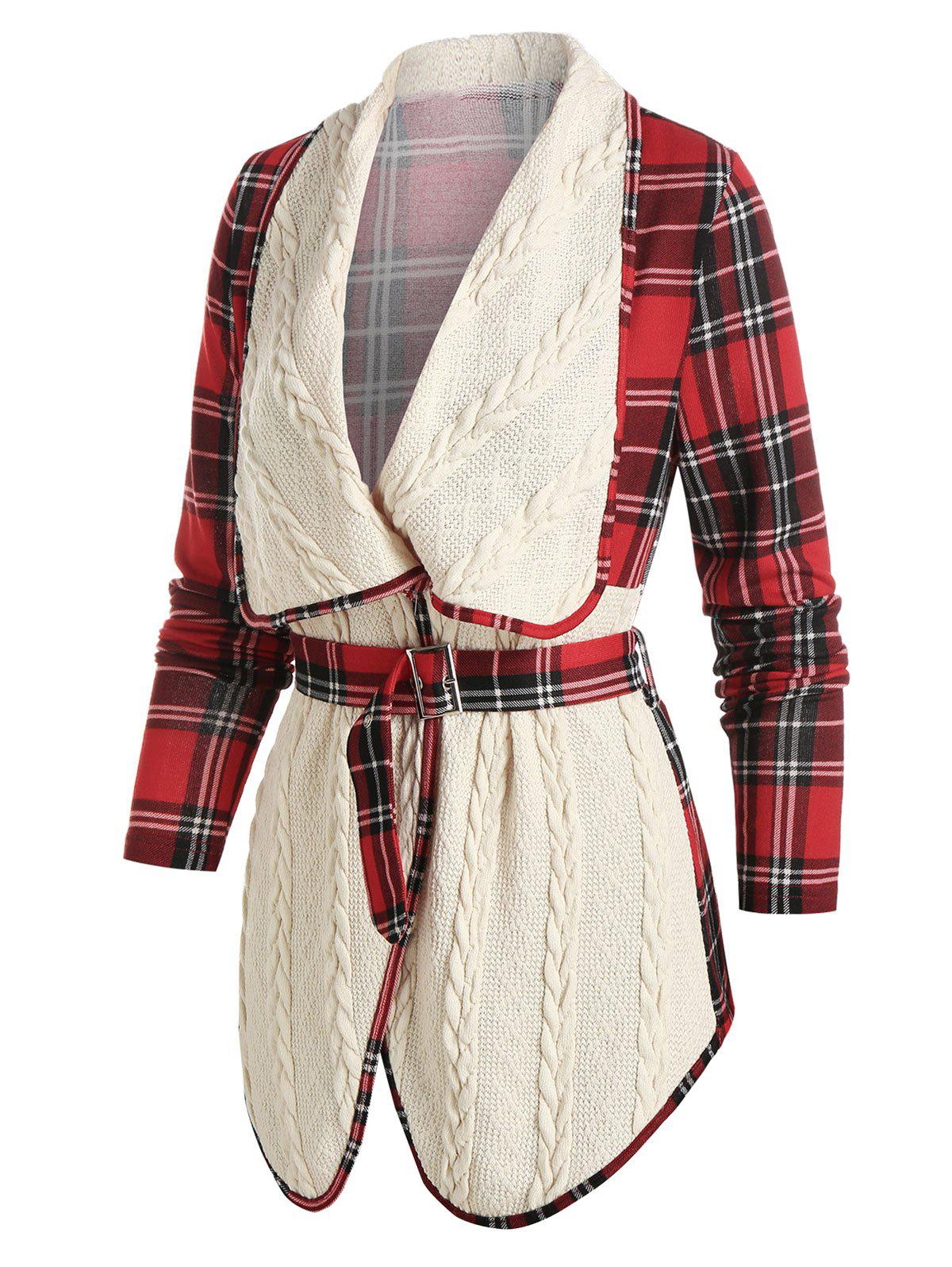 Plaid Print Cable Knit Belted Jacket - WARM WHITE 3XL