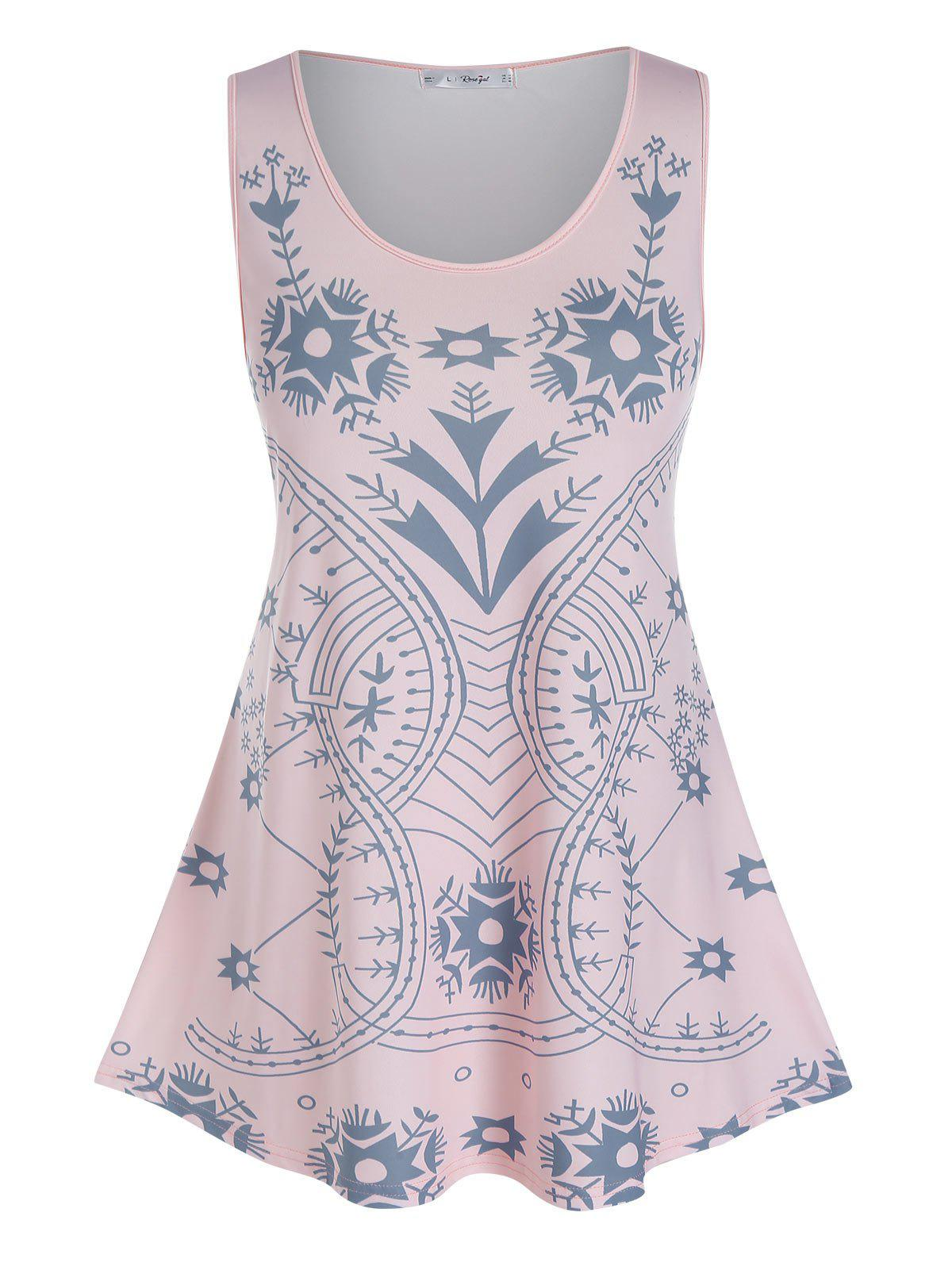 Plus Size Patterned Round Neck Tank Top - LIGHT PINK 4X