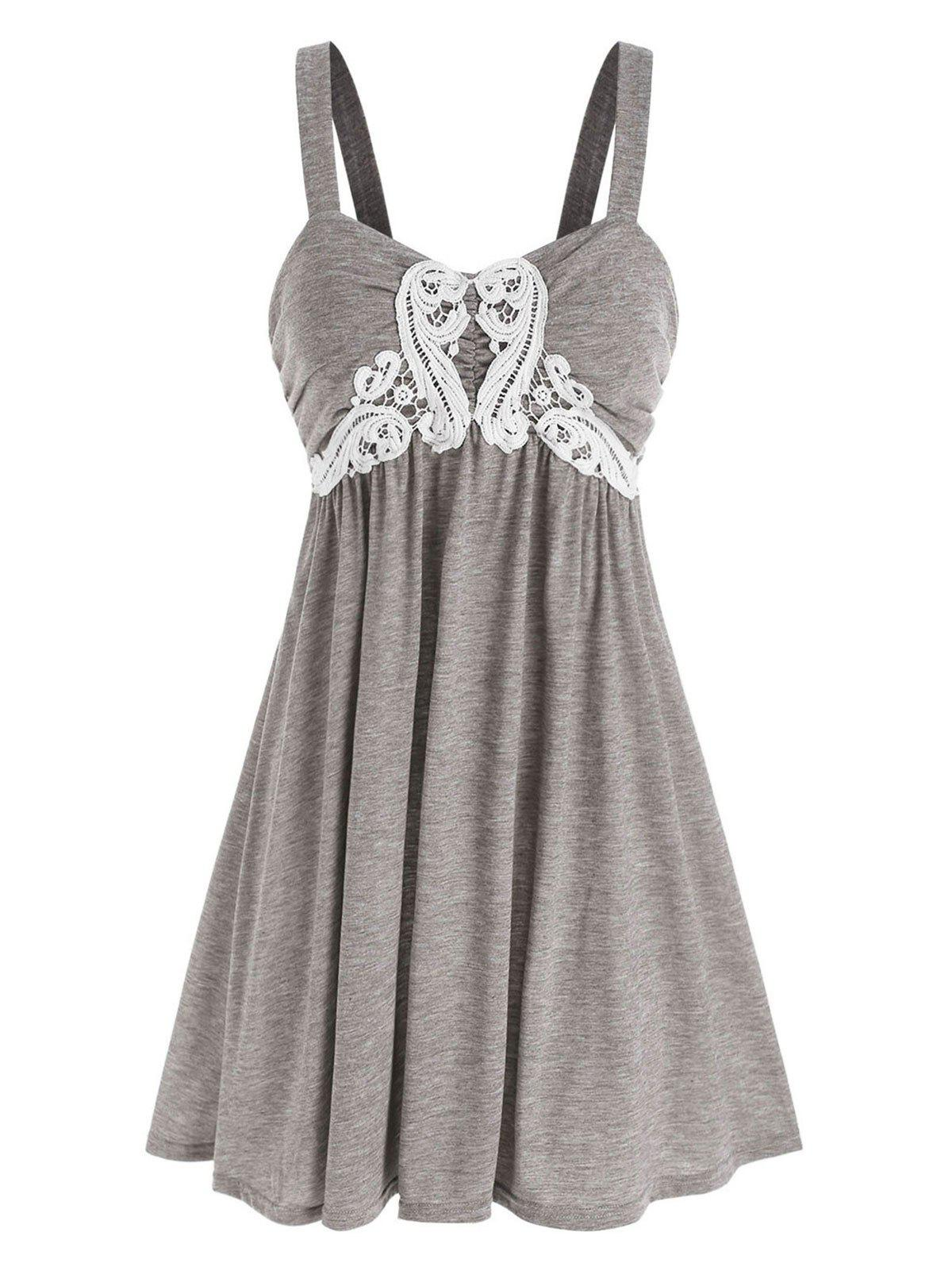 Guipure Insert Heather Tank Dress - LIGHT GRAY XL
