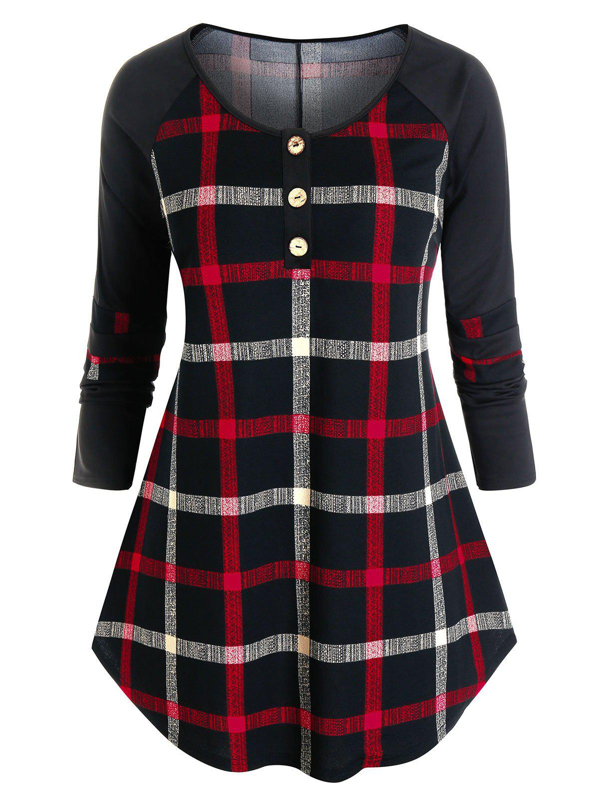 Plus Size Plaid Long Sleeve Button Placket Curved Tee - BLACK 5X