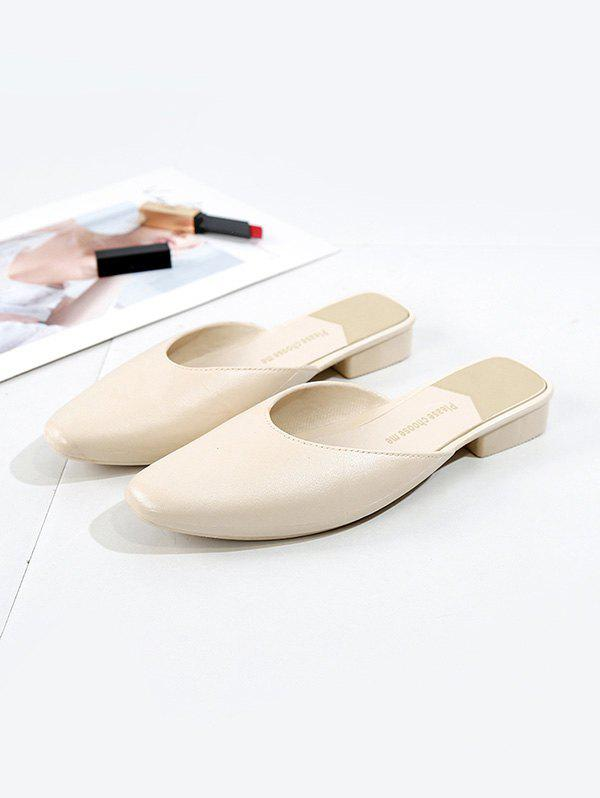 Square Collar Leather Flat Half Shoes - WHITE EU 40