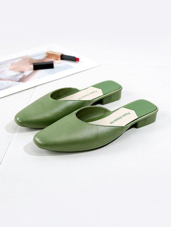 Square Collar Leather Flat Half Shoes - GREEN EU 38