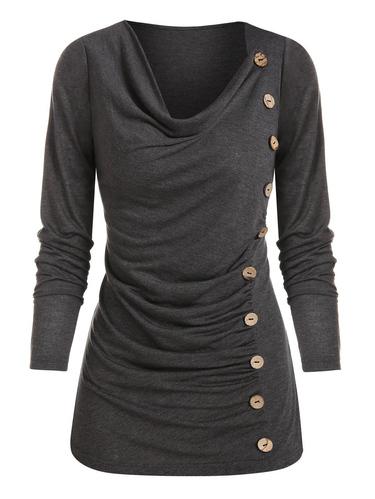 Mock Button Ruched Heathered T-shirt - DARK GRAY S