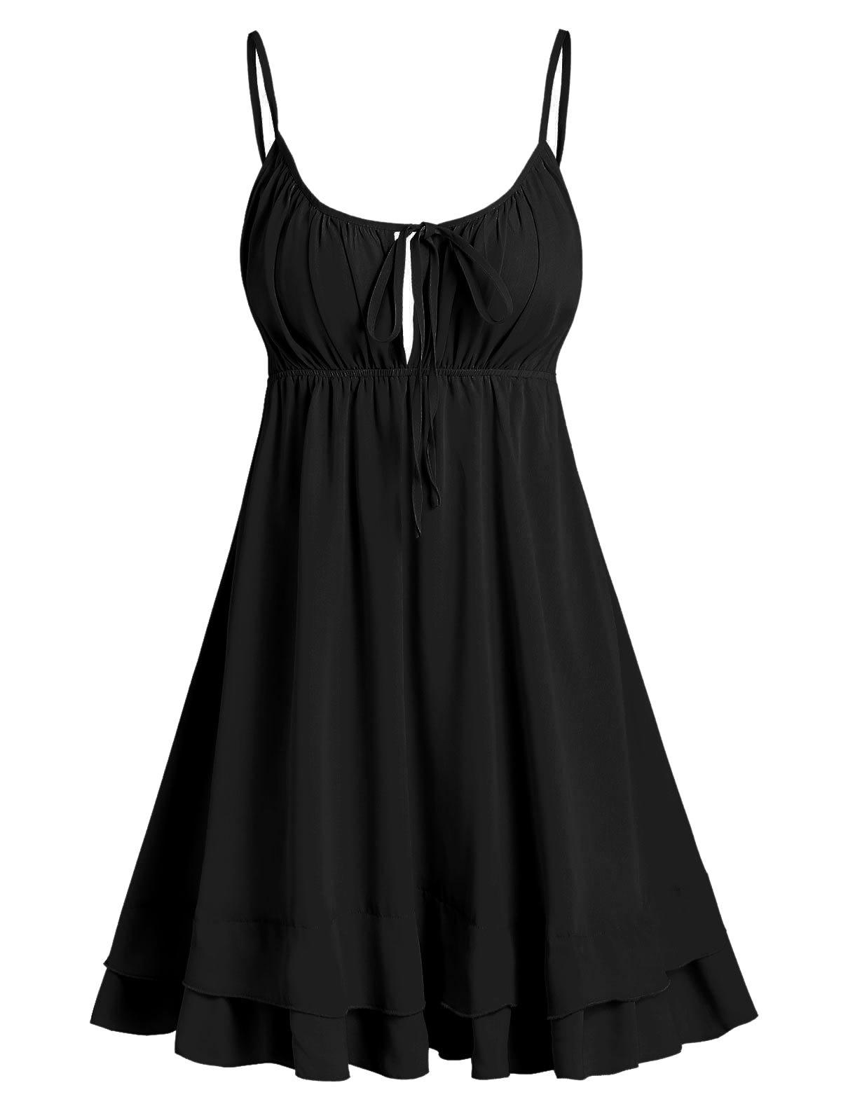 Open Back Tie Knot Flare Cami Dress - BLACK XL