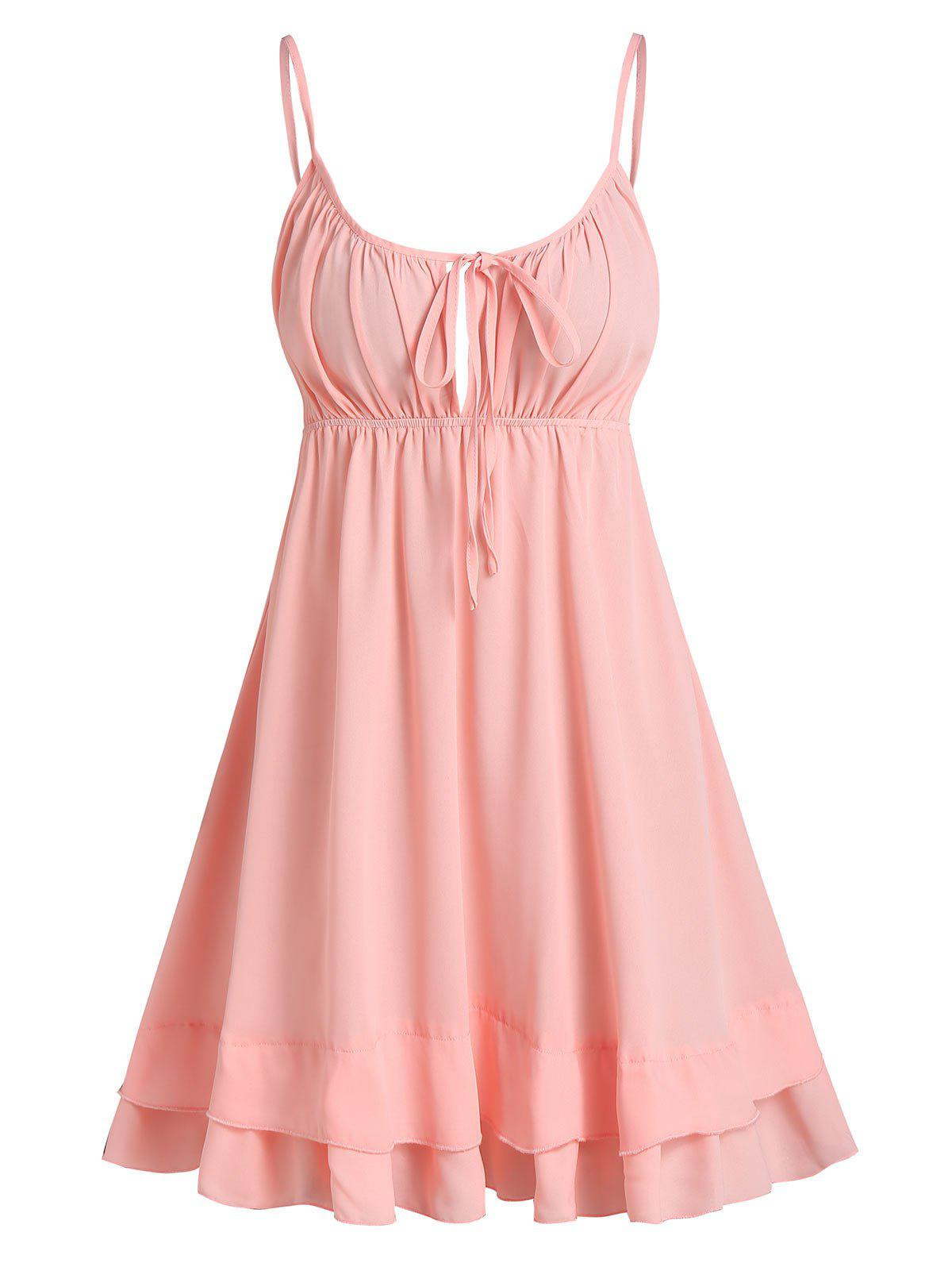 Open Back Tie Knot Flare Cami Dress - PINK XL