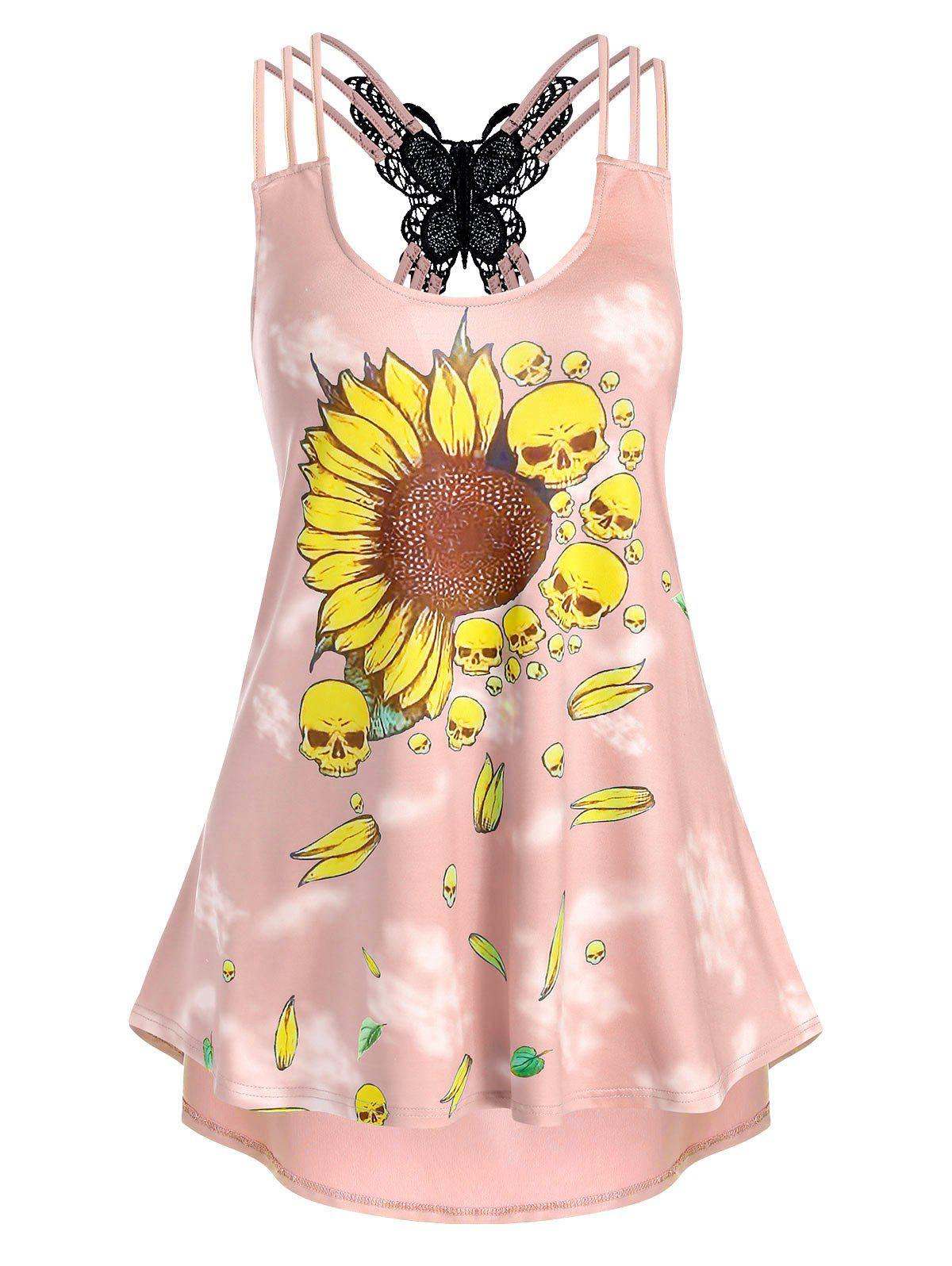Sunflower Skull Print Strappy High Low Tank Top - LIGHT PINK 3XL